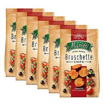 6 x 70g Bruschette Tomato Bread Chips Olive Oregano Oven Baked Snack Crackers