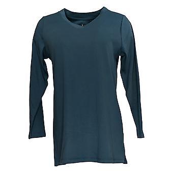 Denim & Co. Women's Top Essentials Interlock V-Neck Tunic Blue A371493