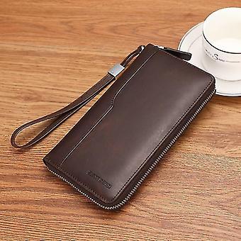 ekte lær lommebok menn, lang veske mynt lomme / pass / kort holder lommebok