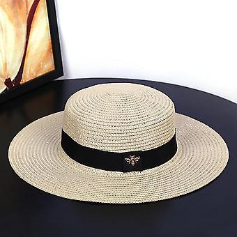 Nouveau chapeau de soleil petits chapeaux de paille d'abeille or tressé femelle solaire lâche