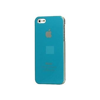 Iphone 5 Hard Plastic Cover Bagetui med Apple-logo - Baby Blue