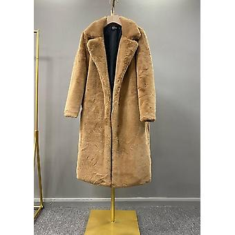 Winter High Quality Faux Rabbit Fur Luxury Long Coat Thick & Warm