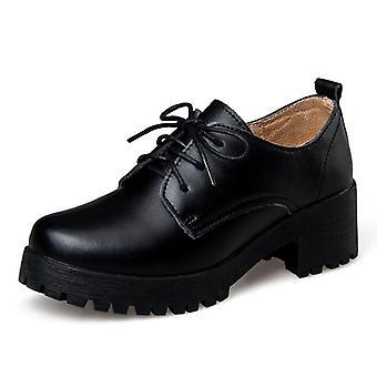 Leather Shoes Women Square Heel Flat Platform Shoes Woman Lace-up Oxford Shoes
