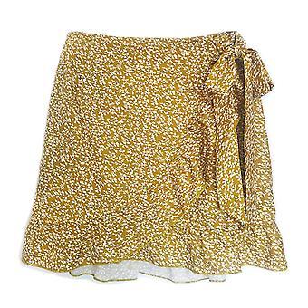 Women's High Waist Short Skirt, Large Size, Mini Elegant Asymmetric, Leopard