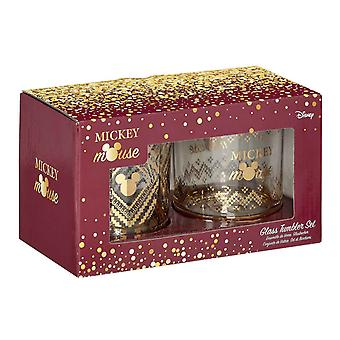 Mickey Mouse tumbler Glass Set Gold Mickey nieuwe officiële Boxed