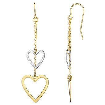 10K valkoinen ja keltainen kulta timantti leikattu sydän lanka pisara korvakorut