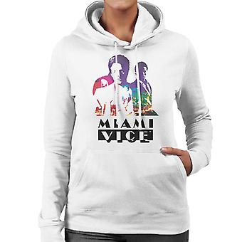 Miami Vice Sonny And Rico City Lights Silhouette Women's Hooded Sweatshirt