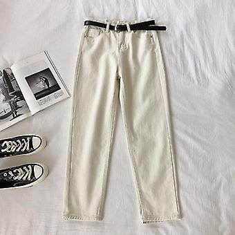 Jeans taille haute, pantalons Harem femmes, longueur cheville, stretch avec ceinture
