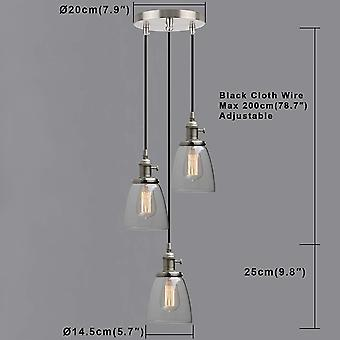 Phansthy Retro Industrial Pendant Lights with Clear Glass Shade, E27 Edison Kitchen Light Fixture 3