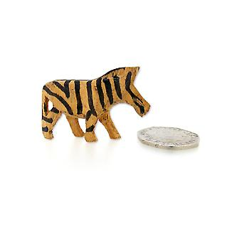 Small Handmade Wooden Zebra Figurine - 4.5 cm