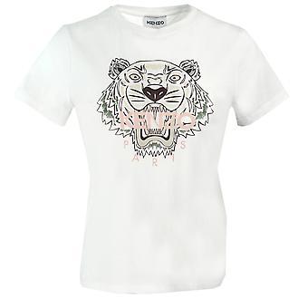 Kenzo Womens Tiger Icon Logo Valkoinen T-paita