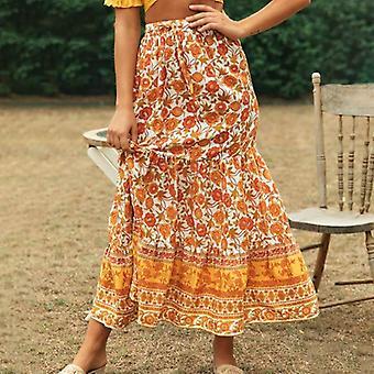Μποέμ floral εκτύπωση γυναικών μακρά φούστα άνοιξη