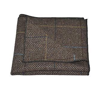 Walnut marrón espiga comprobar pajarita & Conjunto cuadrado de bolsillo