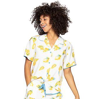 Cyberjammies Phoebe 4816 Dames's White Lemon Motif Modal Pyjama Top