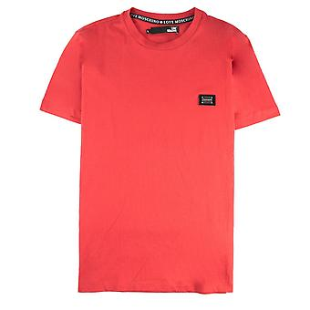 Miłość Moschino Metal Logo Jursey T Shirt Czerwony