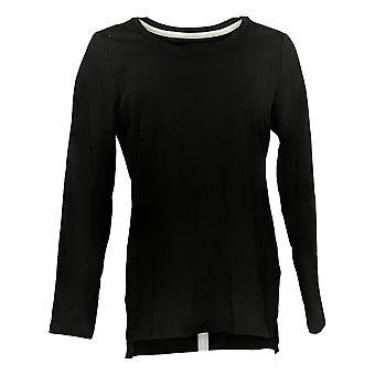 Isaac Mizrahi Live! Women's Top Pima Cotton Hi Low Hem Knit Pink A389762
