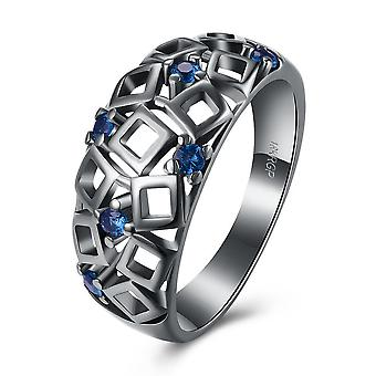 Vintage Black Gold Blue Geometrical Cutout Ring With Swarovski