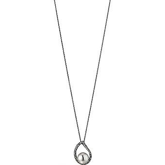 Adriana Pearl Necklace Freshwater White 8.5-9 mm and Zirconia Anchor Chain Silver 50 cm S17
