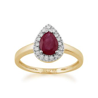 9ct Yellow Gold 0,72 ct naturliga Ruby & päron kluster diamantring