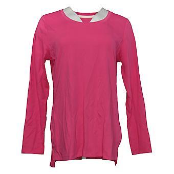 Isaac Mizrahi Live! Women's Top Long Sleeve Jersey Pink A389762