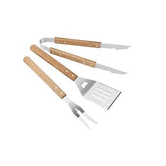 Edelstahl & Holz Grill Werkzeuge Set von 3
