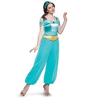Jasmin Deluxe Disney Princess Aladdin Arabian Genie bok vecka Womens kostym