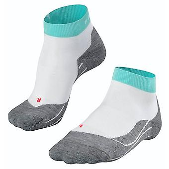 Falke kører 4 korte sokker - hvid / turkis