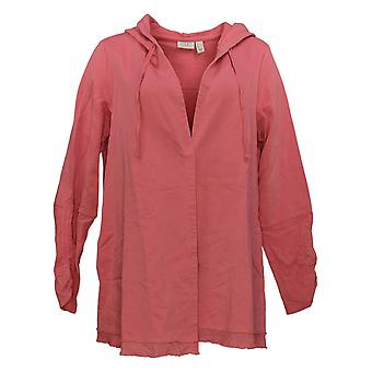 LOGO by Lori Goldstein Women's Jacket French Terry Open Hoodie Pink A307266