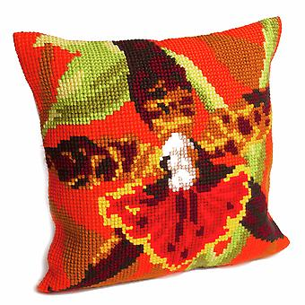 Samling d'Art Cross Stitch Kit: Kudde: Tiger Orchid