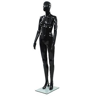 vidaXL mannequin femelle avec socle en verre noir 175 cm