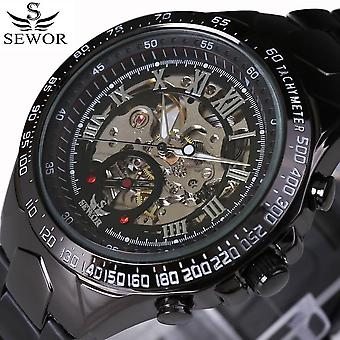 Men Wrist Automatic Mechanical Gold Military Stainless Steel Skeleton Watch