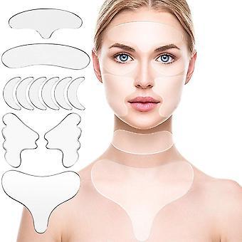 11 Zestaw plastrów do usuwania zmarszczek silikonowych wielokrotnego użytku na twarz, czoło, szyję, oko itp.