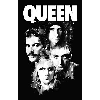 Queen Plakat Faces portrætter Band Logo nye Officielle 70cm x 106cm Textile Flag
