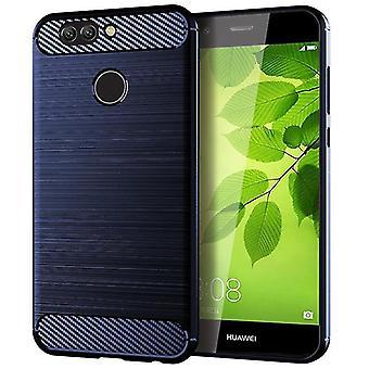 Tpu carbon fibre case for huawei p10 selfie blue mfkj-381