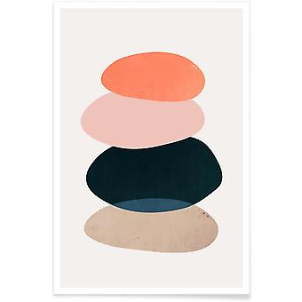 JUNIQE Print - River Stone - Abstract & Geometric Poster in Colorful