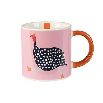 Fowl Tea &Coffee Mug Tazas de bebidas calientes de porcelana con mango de 300ml rosa