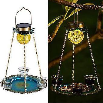 Gold hanging solar led bird feeder for outdoor balcony x816