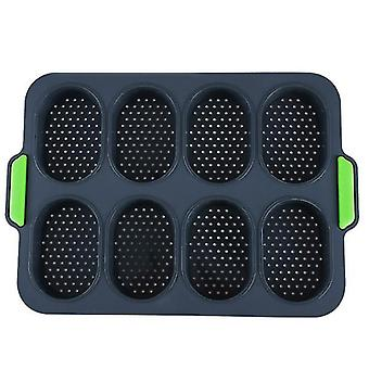 Gray 8-hole non-stick silicone bread baking pan diy mini kitchen mold oval pastry tool french bread muffin pan az7465