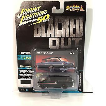 1955 Chevy Nomad Deep Dark Gloss Black 1:64 Scale Johnny Lightning JLSF013B
