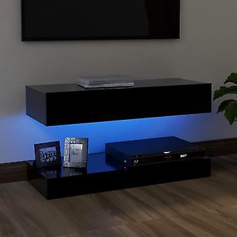 vidaXL TV-kaappi LED-valoilla Musta 90x35 cm