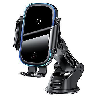Autó vezeték nélküli töltő iPhone 11 Samsung Xiaomi 15W indukciós autó mount gyorstöltők (fekete)