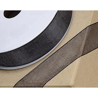 25m svart 10mm bred vevd kant organza bånd for håndverk