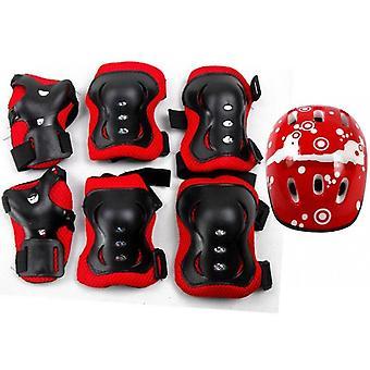 6-piece Skate Protective Gear Set, Universal Helmet Combo Set(Red)