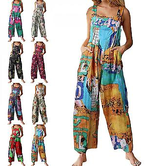 Womens Pocket Trousers Summer Long Pants Ethnic Style Patchwork Printing Casual