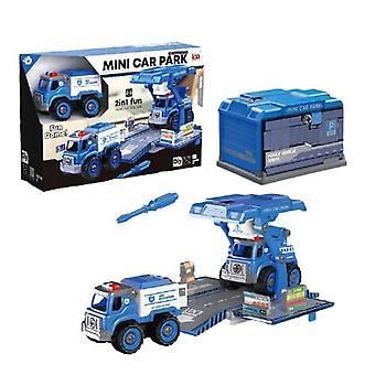 Children's demontage en montage van politie auto speelgoed