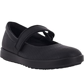 ECCO Kids Childrens Elli Mary Jane Hook & Loop Leather Flat Ballet Shoes - Black