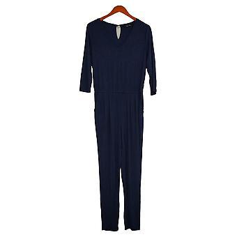 Colleen Lopez Jumpsuits Easy V Neck Jersey Stretch V Neck Blue 731991