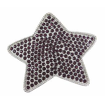 Fivela do cinto estrela coberto Chrome strass roxo
