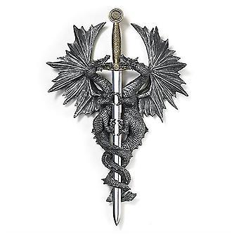 Dragon Crest Ineinander verschlungene Drachen Dolch Plakette, 1er Pack