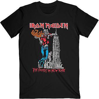 アイアンメイデンユニセックスTシャツ:ニューヨークの獣(バックプリント)